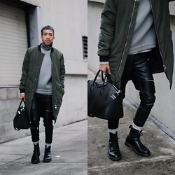 Brandon Tran - Givenchy Bag, Dr. Martens Shoes, Alexander Wang Sweater - Bomber season