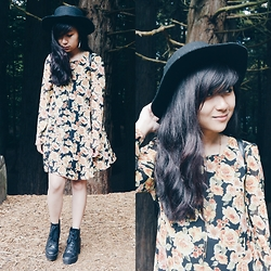 Sarah D. - Forever 21 Floral Long Sleeve Dress, Urban Outfitters Panama Hat, Forever 21 Lace Up Boots - All you've gotta do is call..