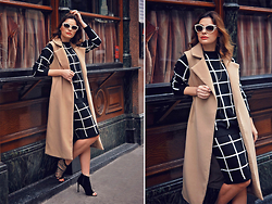 Elena Sandor - Missguided Coat, Missguided Top And Skirt, Little Mistress Sandals, Roberto Cavalli Sunglasses - The camel coat trend
