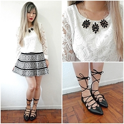 Thais Chung - Shop Tk Lace Blouse, Acrylic Necklace, Shop Tk Wool Printed Skirt, Schutz Lace Up Flats - BLACK ROSE