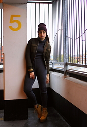 Agata Nika - Zara Sporty Jumpsuit, River Island Ankle Boots, Primark Beanie, Topshop Bomber - Bean there, done that...
