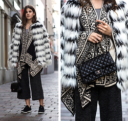 Michèle Krüsi - Noisy May Coat, River Island Cape, Adpt. Pants, Chanel Bag - A QUICK HELLO FROM FRANZ AND KARL