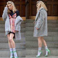 Dani Mikaela McGowan - Kensie Teddy Bear Fur Coat, Steve Madden Mint Stilettos, Urban Outfitters Slip Dress, Topshop Denim Button Up - Slip into Winter