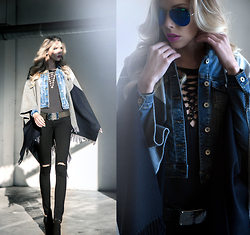 Dora D. - Black Lace Up Body, Denim Jacket, Black Skinny Jeans, Wool Poncho, Zara Ankle Boots - The shadows fall behind you