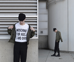 Grayson Klimek - Moschino For Ages 5 And Over T Shirt, Pacsun Bomber, Yohji Yamamoto Cropped Trousers, Dr. Martens Shoes - VENUS FLY - Instagram @graysonklimek