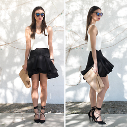 Tienlyn . - Wrap Heels, Karen Walker Superstar Glasses, Marie Turnor Lunch Clutch, Knit Crop Tank, Aq/Aq Ruffle Skirt - THE ACE
