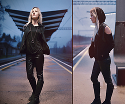 Kadri S - Wholesale7 Top, H&M Faux Leather Pants, Living Doll Vest, Clarks Boots - Slide into the night