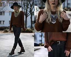 Annette Zer - Dressin Aztec Necklace, C&A Knit Jumper, Dressin Striped Chino Trousers, Esprit Black Belt, Primark Black Hat, Deichmann Copper Boots - There's one thing that I know for sure. I'll show you..