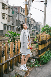 Xuan Huang - Hu A Ng Wooden Circle Earrings, Hu A Ng Gray Coat, Hu A Ng Woolen Handbag, Hu A Ng Points Skirt, Adidas - TGIF! Still Hot in Taiwan o_o