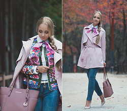 Olga Choi - Chicwish Pink Trench Coat, Michael Kors Bag, Yoins Denim - Embroidered