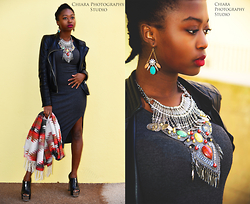 SGTURNINGPOINT.COM - Zara Leather Jacket, Diva Approved London Statement Necklace, Forever 21 Colorful Boho Scarf - The BOHO Vibe