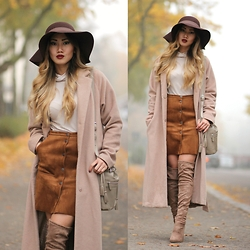 Louise Xin - Lindex Suede Skirt, Lindex Brown Hat, Xin Nude Polo Top, Ego Nude Over The Knee Boots, Kappahl Camel Coat - Autumn fog