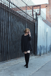 Hannah N - H&M Coat, American Apparel Dress, Zara Thigh High Boots - One five one