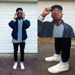 Davian Gibson - Tommy Hilfiger Cotton Tee, Reebok Windbreaker, Vans Sk8 High, Circular Shades - Quick