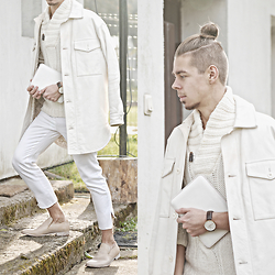 Edgar - Maison Martin Margiela White Padded Leather Coat, Maison Martin Margiela Mold Effect Loafers, Topshop White Pants, H&M White Shawl Collar Jumper, Daniel Wellington Brown Leather Watch - ALL-WHITE WINTER LOOK // See More In Description