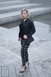 Rowan Reiding - Costes Check Grid Pants, Guess Pointy Pumps, Zara Black Leather Jacket, Asos Black V Neck Jumper - JUST CHECKING