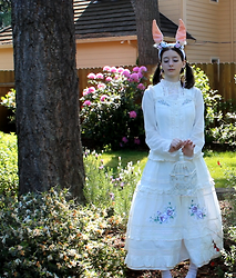 Brittany Justus - Hand Made Floral Rabbit Ears, Elegant Embroidered Jsk, Embroiderd High Neck Blouse, Ameriocan Apparel White Frill Socks - Follow the white Rabbit