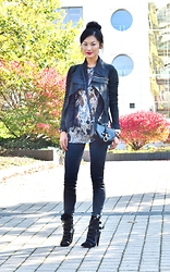 Sun Zibar - Rick Owens Leather Jacket, Isabel Marant Silver Metallic Top, Givenchy Obsedia Bag, Current/Elliott Denim, Isabel Marant Black Heeled Boots - Ready for fall