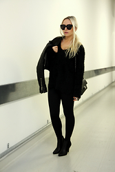 Olga Oliwye Soukupova - H&M Fluffy Black Sweater, Chanel Classic Flap Bag 2.55 Black Quilted Bag, Calzedonia Black Push Up Leggings, Orsay Black Leather Ankle Boots, Balenciaga Classic Moto Biker Leather Jacket - BLACK MAMBA
