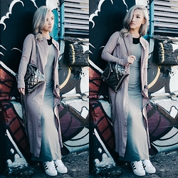 Gigi Lam - Yoins Longline Shirt Dress, T By Alexander Wang Maxi Dress, Stella Mccartney Backpack, Adidas Superstar Sneakers, Jord Wood Watch - UP TOWN PUNK