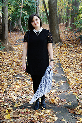 Gina S. - Forever 21 Black Lace Dress, Coach Crossbody Bag, Skull Scarf, Dapper And Swag Bee Collar Pins, Etienne Agnier Black Boots - Black lace & bees