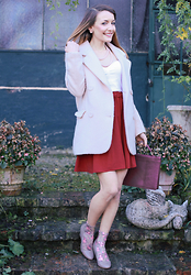 Stefanie - H&M Pink Wool Coat, Primark White Top, H&M Pearl Necklace, Orsay Burgundy Skirt, Calzedonia Pink Flower Socks, Mango Wedges - I still believe in pink