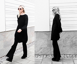 Louise Amelie Whitehouse - Edited Bell Sleeve Dress, Gina Tricot Flare Pants, Vagabond Suede Boots - EDITED