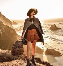 Elle-May Leckenby - Tan Suede Shorts, Black Back Buttoned Tank - Gold over Big Sur