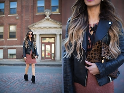 Maria Vizuete - Zara Leather Jacket, Asos Sweater Dress, Clare V Leopard Clutch, Sam Edelman Fringe Booties - Lace Up Sweater Dress.