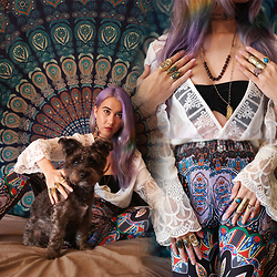 Sera Brand - Yoins White Lace Up Flare Top, Yoins Colorful Bell Bottoms, Asha Patel Designs Ganesh Necklace, Asha Patel Designs Amethyst Leather Necklace, Asha Patel Designs Leather Wrap, Earth Bound Trading Golden Rings, Sanktoleono Rings, Rokit Vintage Faux Septum Ring, Elnique Earrings - From the comfort of my Home