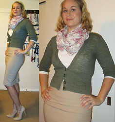 Erin Solberg -  - Floral Scarf and Pencil Skirt