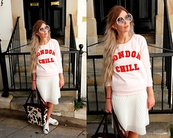 Joanna L - Topshop White Skirt, Reserved Blouse, Adidas Sneakers - London chill