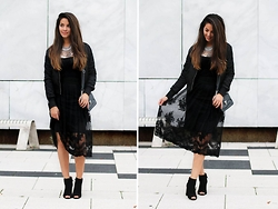 Stephanie Abu-Sbeih - Asos Skirt, Boohoo Shoes, Choies Jacket - Black lace