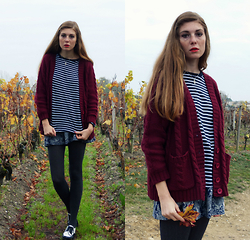 Laurielle Haze - Cndirect Navy Striped Top, Pepaloves Burgundy Cable Knit Cardigan - God In Hell