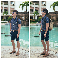 Ira Giorgetti - Topman Floral Shirt, Topman Tapered Shorts, Por Santo Leather Loafers, Os Accessories Bone Bracelet, Ray Ban Ray Ban Lite - Navy Blues