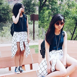 Sarah D. - Forever 21 Faded Crop Top, Boohoo Grid Long Sleeve, Converse Blue - Post Summer