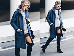 Mikuta - Ganni Coat, Aran Sweater Market, Henry Kole Boots, H&M Lace Dress - BLUE COAT & LACE
