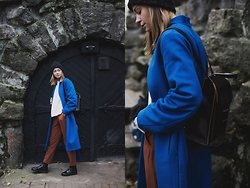 Dasha Shcerbakova - Osom2some Coat, Asos Pants, Asos Shoes - Blue Coat