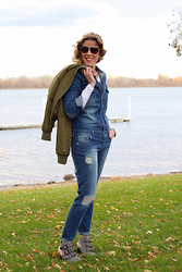 Anne Dofelmier - Necessary Clothing Denim Jumpsuit, Necessary Clothing Bomber Jacket - Just Some Necessary Clothing