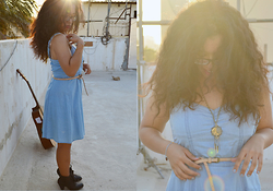 Nada Qamber - H&M Light Blue Denim Dress, Forever 21 Dark Brown Ankle Boots, New Look Peach Thin Belt, Steam Punk Dream Catcher Necklace - Denim and Curlyhair