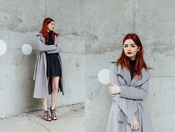 Hannah Louise - Asos Grey Tailored Coat, Kurt Geiger Lace Up Heels - Grey Tailored Coat