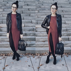 Janka Topanka - Zara Dress, H&M Shoes, Caliope Bag, H&M Jacket - Bordeaux Mordor