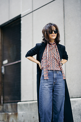 Diana Z Wang - C/Meo Collective Geo Print Top, Nasty Gal Wide Leg Jeans, Keepsake The Label Coat - Retro Cool