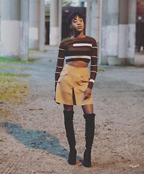 Godiva Camara - Boohoo Suede Skirt, Missguided Crop Top, River Island Boots - Suede and boots