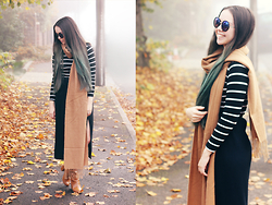 Jen Lou M - Missguided Striped Polo Neck Top, H&M Side Split Skirt, Topshop Camel Scarf, Missguided Knee High Tan Boots, Asos Circle Lens Sunglasses - Hello from the Other Side