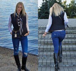 Agate Zirape - Primark Scarf, Reserved Quilted Vest, Zara Ripped Jeans, Zara Leather Boots, Zara Striped Blouse - Autumn days