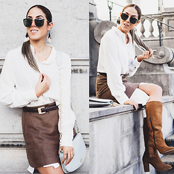 Alison Liaudat - H&M Long White Shirt, La Redoute Camel Suede Boots, Ysl Vintage Belt, Christian Dior Shades - Skirt over my white shirt.