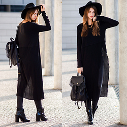 Jacky - Subdued Hat, Subdued Backpack, Urban Outfitters Long Shirt, Gina Tricot Jeans, Zara Booties - Asymmetric Long Shirt