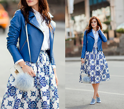 Viktoriya Sener - Adamo Leather Jacket, Chic Wish Skirt, Vinamu Bracelet, Asos Bag, River Island Pom Pom, Zara Shirt, Zara Brogues - BLUE