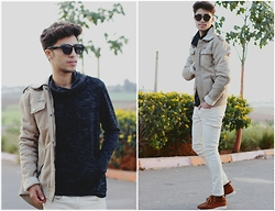 Ayoub Mani - Sweatshirt Shein, Jacket River Irland, Jeans April77, Shoes Zara - No person knows what he will earn tomorrow